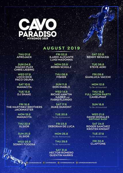 Cavo Paradiso Mykonos DJ party schedule for August 2019