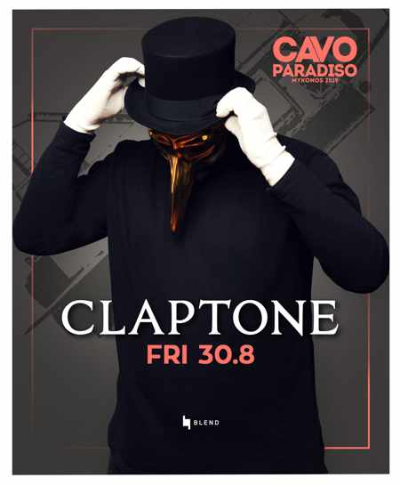 Promo ad for Claptone appearance at Cavo Paradiso Mykonos