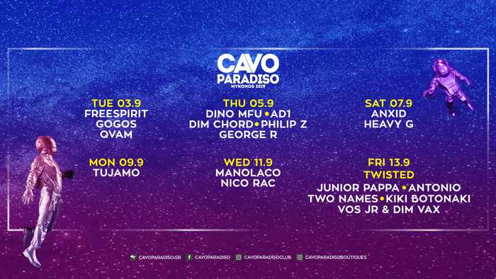 Cavo Paradiso Mykonos DJ events September 3 to 13 2019