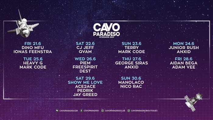 Schedule of DJs appearing at Cavo Paradiso Mykonos from June 21 to June 30