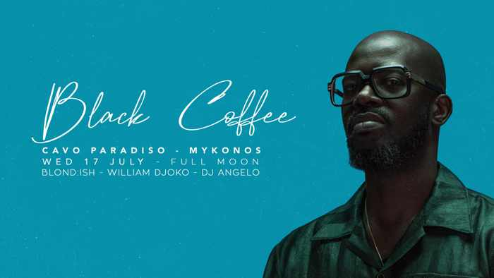 Promotional image for the Cavo Paradiso Mykonos Full Moon Party with Black Coffee