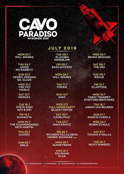 Cavo Paradiso Mykonos DJ party schedule for July 2019
