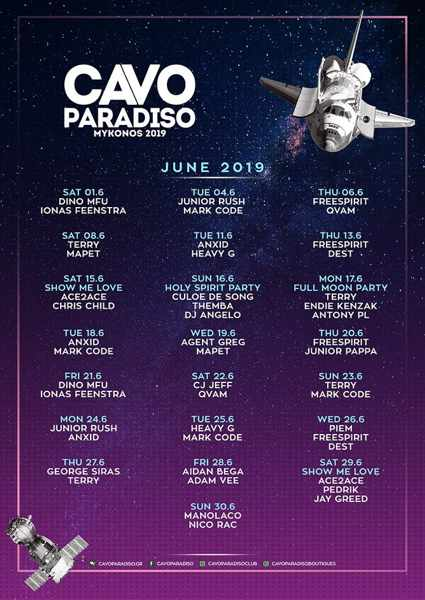 Cavo Paradiso Mykonos DJ party schedule for June 2019