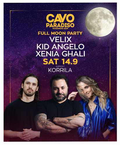 Promotional advertisement for the Cavo Paradiso Mykonos September 14 Full Moon Party