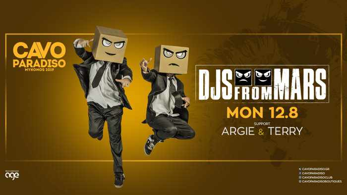 Promotional image for the DJs from Mars show at Cavo Paradiso Mykonos August 12