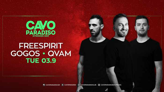 Cavo Paradiso Mykonos presents Freespirit Gogos and QVAM on Tuesday September 3
