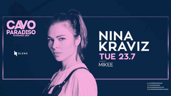 Announcement for the Cavo Paradiso Mykonos party featuring DJ Nina Kraviz