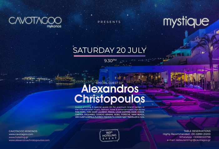Cavo Tagoo Mykonos Mystique party on July 20