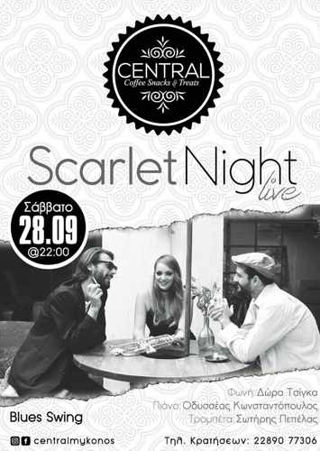 Promotional image for the Central Mykonos Scarlet Night live swing and blues music September 28