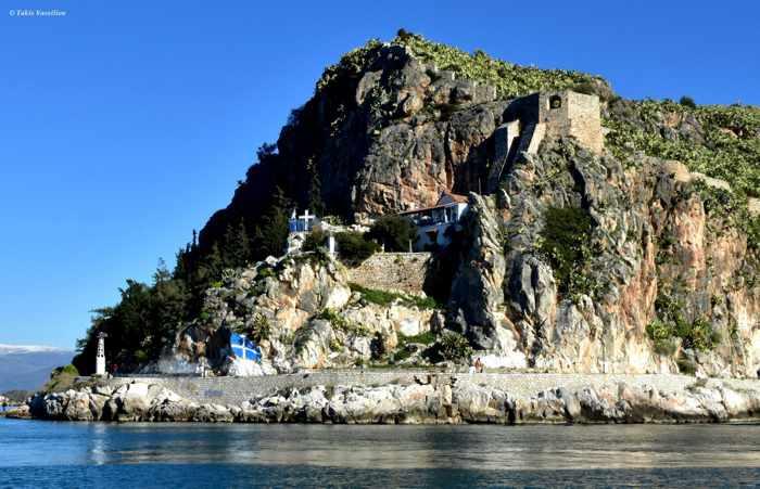 Greece, Peloponnese, Argolida, Nafplio, Panagitsa Church, church, cliff, peninsula,Acronauplia peninsula, coast, seaside, Arvanitia promenade