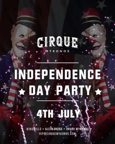 Promotional image for the Independence Day Party at Cirque Mykonos nightclub