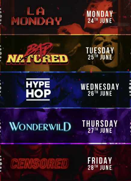 Schedule of theme parties being held June 24 to 28 at Cirque club Mykonos