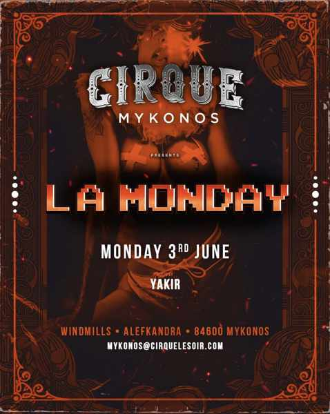 Promotional image for Cirque Mykonos June 3 event