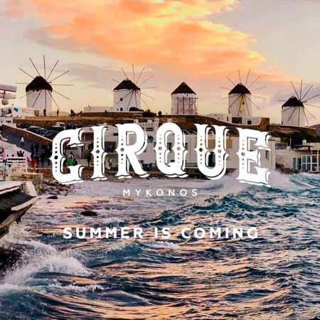 Promotional image for Cirque Mykonos nightclub opening