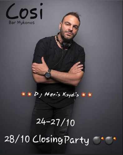 Promotional image announcing the season closing party for Cosi Bar on Mykonos