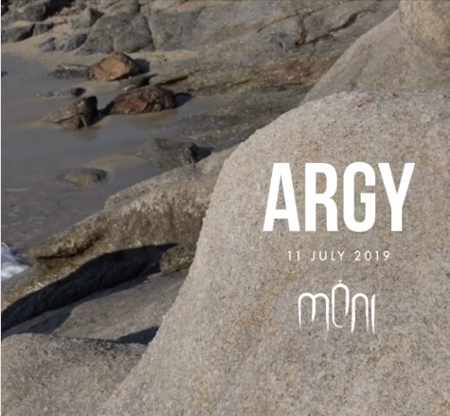 Promotional ad for DJ Argy appearance at Moni club on Mykonos July 11