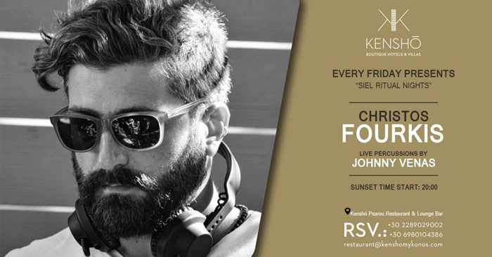 Promotional ad for DJ Christos Fourkis shows at Kensho Psarou on Mykonos during summer 2019