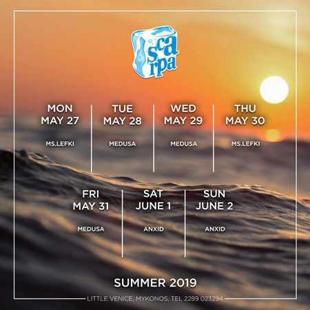 Scarpa Bar Mykonos promotional flyer showing DJ schedule for late May and early June 2019
