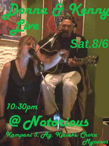 Promotional ad for Donna & Kenny live rock music show at Notorious Bar Mykonos