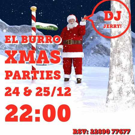 Promotional image for El Burro Mykonos Christmas Parties December 24 and 25