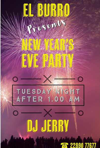 El Burro Mykonos New Years Eve Party announcement