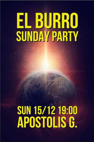 Promotional image for the December 15 Sunday Party at El Burro Mykonos