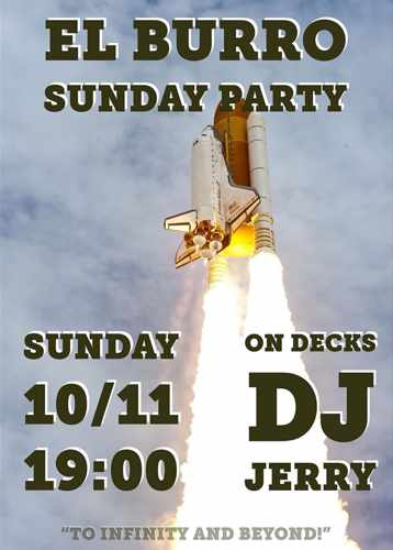Promotional image for the El Burro Mykonos party with DJ Jerry on Sunday November 10