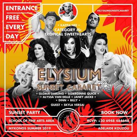 Promo ad for Elysium Hotel Mykonos Sunset Cabaret show
