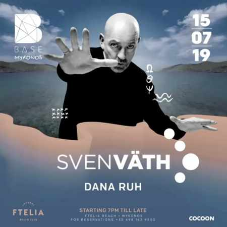 Advertisement for the Ftelia beach club Mykonos party featuring DJ Sven Vath