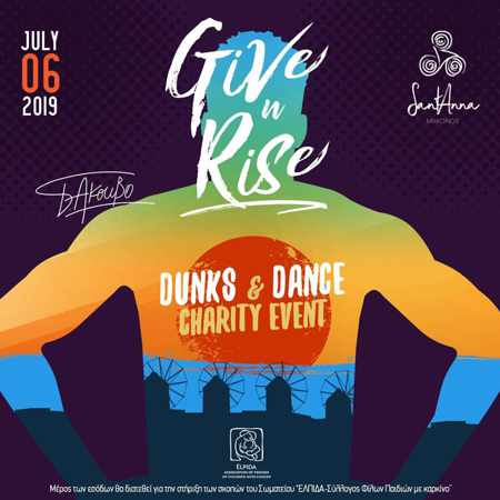 Promotional image for the Give n Rise charity event on Mykonos in July 2019