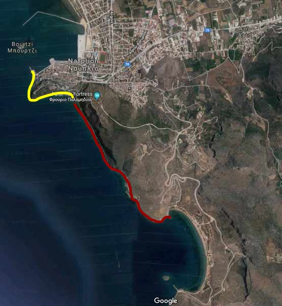 Greece, Peloponnese, Arcadia, Nafplio, map, walking routes, Nafplio walking paths,
