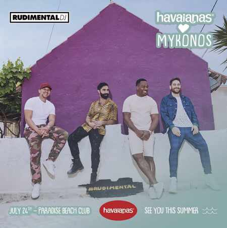 Promotional image for the Havaianas Loves Mykonos party with Rudimental on July 24