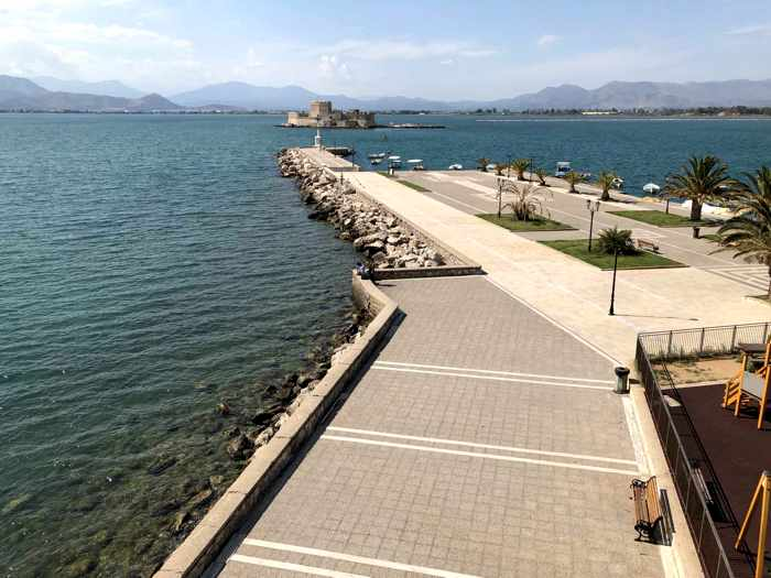 Greece, Peloponnese, Argolida, Nafplio, Arvanitia Promenade, waterfront, seaside, shore, The Shore, Argolic Gulf