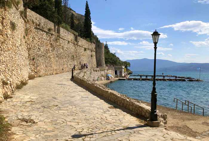 Greece, Peloponnese, Argolida, Nafplio, Arvanitia promenade, fortress wall, walkway, seaside, coast