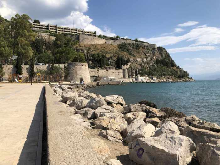 Greece, Peloponnese, Argolida, Nafplio, coast, seaside, peninsula, Acronauplia,