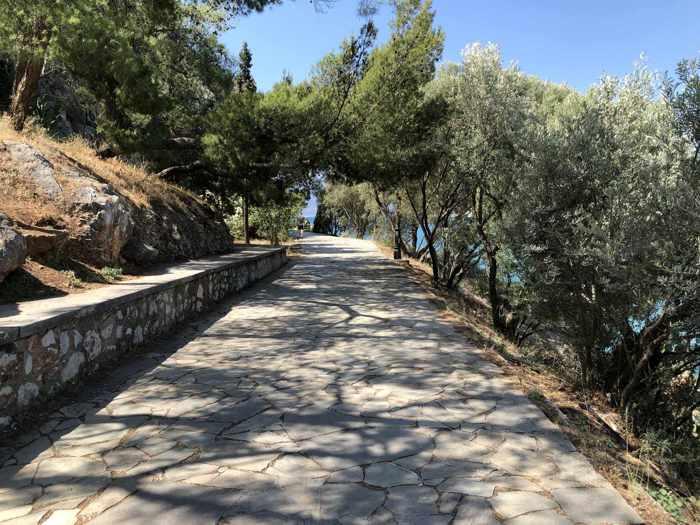 Greece, Peloponnese, Argolida, Nafplio, Arvanitia promenade, path, walkway,