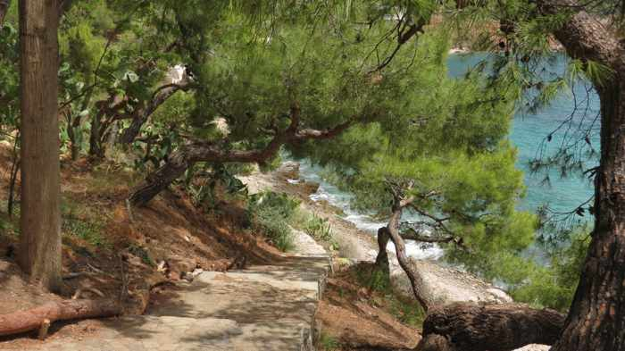 Greece, Peloponnese, Nafplio,Arvanitia, Arvanitia promenade, steps, stairs, coast, seaside, path,