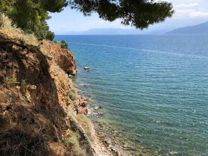 Greece, Peloponnese, Nafplio, Karathona, Karathona beach path, path, walkway, coast,seaside, sea, Argolic Gulf