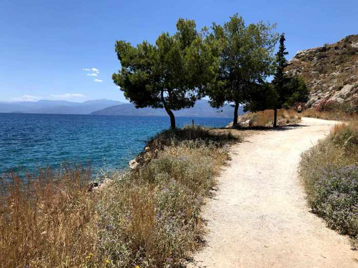 Greece, Peloponnese, Nafplio,Karathona,Karathona Bay, bay, sea, Argolic Gulf, water,coast, seaside, trail, path, Karathona path, walkway, footpath,