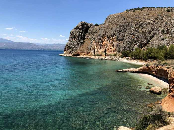 Greece, Peloponnese, Nafplio, Karathona path, beach, Neraki beach, Neraki beach Nafplio, coast, seaside, sea, water,  cliffs, mountain, Argolic Gulf, Neraki beach, cove,