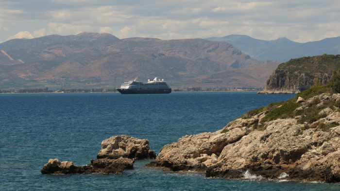 Greece, Peloponnese, Nafplio,Karathona path, path, trail, coast, seaside, Argolic Gulf, sea, mountains, ship, cruise ship