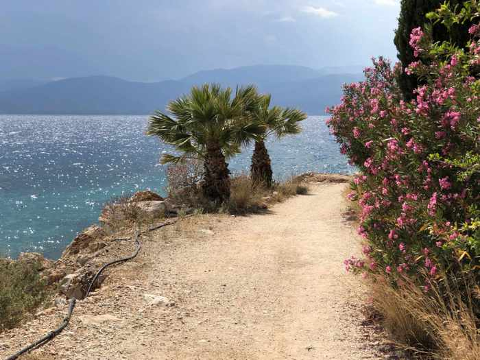 Greece, Peloponnese, Nafplio,Karathona, Karathona path, path, footpath, trail, walkway, coast, seaside, trees, flowers, sea, Argolic Gulf