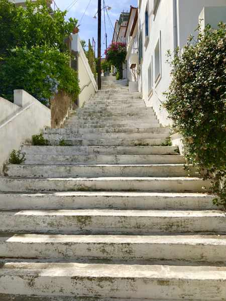 Greece, Greek island, Saronic island, Poros, Poros Greece, Poros island, Poros Town, steps, stairs, lane,
