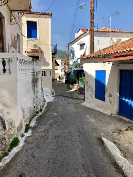 Greece, Greek island, Saronic island, Poros, Poros Greece, Poros island, Poros Town, lane, road, street, buildings