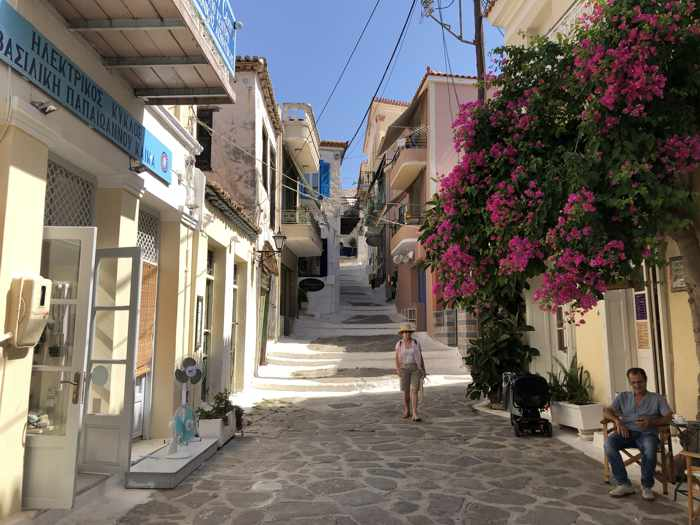 Greece, Greek island, Saronic island, Poros, Poros Greece, Poros island, street, lane, steps, buildings,