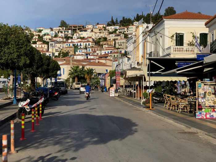 Greece, Greek island, Saronic island, Poros, Poros island, Poros Greece, street, road, town,
