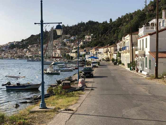 Greece, Greek island, Saronic island, Poros, Poros Greece, Poros island,, street, road, waterfront, buildings,