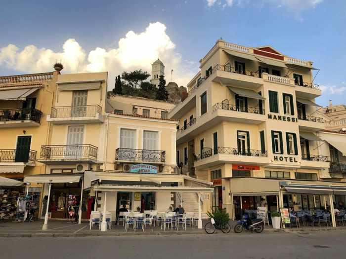 Greece, Greek island, Saronic island, Poros, Poros Greece, Poros island,, Poros Town, buildings, architecture, Manessi Hotel Poros, hotel,