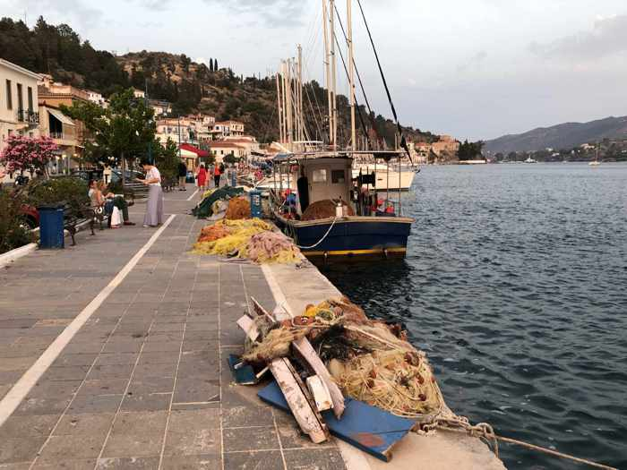 Greece, Greek island, Saronic island, Poros, Poros Greece, Poros island,, harbourfront, fishing boats,