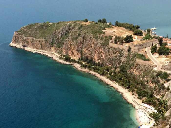 Greece, Peloponnese, Argolida, Nafplio, Acronauplia, Acronauplia peninsula, coast, seaside, Argolic Gulf